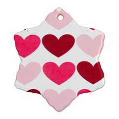 Valentine S Day Hearts Snowflake Ornament (Two Sides)