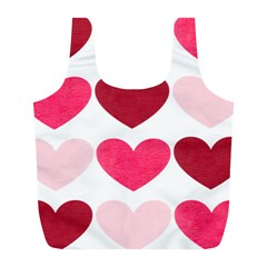 Valentine S Day Hearts Full Print Recycle Bags (L)
