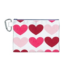 Valentine S Day Hearts Canvas Cosmetic Bag (M)