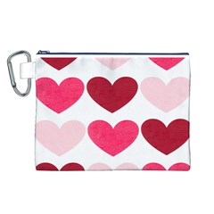 Valentine S Day Hearts Canvas Cosmetic Bag (l)