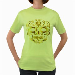 Sugar Skull Bones Calavera Ornate Women s Green T-Shirt