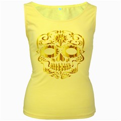 Sugar Skull Bones Calavera Ornate Women s Yellow Tank Top