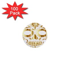 Sugar Skull Bones Calavera Ornate 1  Mini Buttons (100 pack)