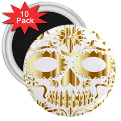 Sugar Skull Bones Calavera Ornate 3  Magnets (10 pack)