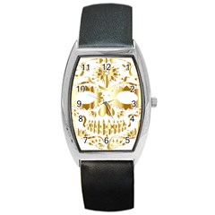 Sugar Skull Bones Calavera Ornate Barrel Style Metal Watch