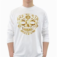 Sugar Skull Bones Calavera Ornate White Long Sleeve T-Shirts