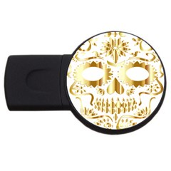 Sugar Skull Bones Calavera Ornate USB Flash Drive Round (4 GB)