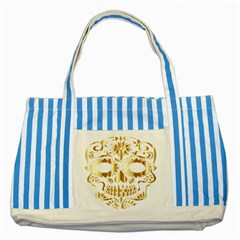Sugar Skull Bones Calavera Ornate Striped Blue Tote Bag