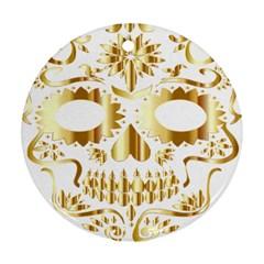 Sugar Skull Bones Calavera Ornate Round Ornament (Two Sides)