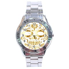 Sugar Skull Bones Calavera Ornate Stainless Steel Analogue Watch