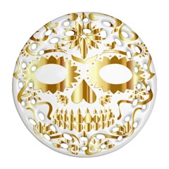 Sugar Skull Bones Calavera Ornate Ornament (Round Filigree)