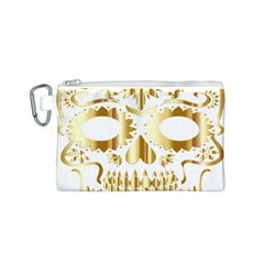 Sugar Skull Bones Calavera Ornate Canvas Cosmetic Bag (s)
