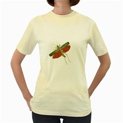 Grasshopper Insect Animal Isolated Women s Yellow T-Shirt