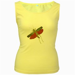 Grasshopper Insect Animal Isolated Women s Yellow Tank Top