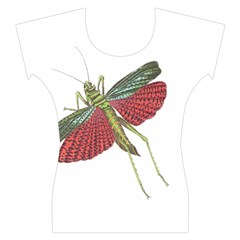 Grasshopper Insect Animal Isolated Women s Cap Sleeve Top