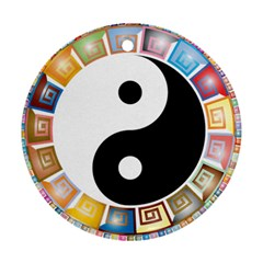Yin Yang Eastern Asian Philosophy Ornament (Round)