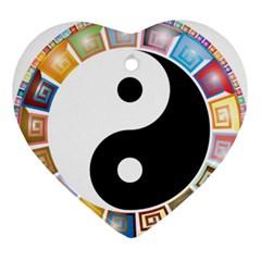 Yin Yang Eastern Asian Philosophy Ornament (Heart)