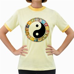 Yin Yang Eastern Asian Philosophy Women s Fitted Ringer T-Shirts