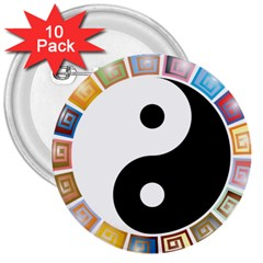 Yin Yang Eastern Asian Philosophy 3  Buttons (10 pack)