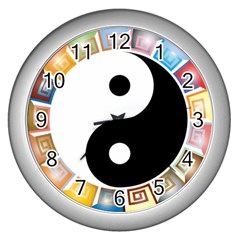 Yin Yang Eastern Asian Philosophy Wall Clocks (Silver)