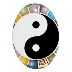 Yin Yang Eastern Asian Philosophy Oval Ornament (Two Sides)