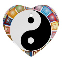 Yin Yang Eastern Asian Philosophy Heart Ornament (Two Sides)