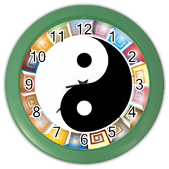 Yin Yang Eastern Asian Philosophy Color Wall Clocks