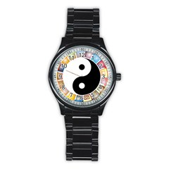 Yin Yang Eastern Asian Philosophy Stainless Steel Round Watch