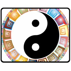 Yin Yang Eastern Asian Philosophy Double Sided Fleece Blanket (Medium)