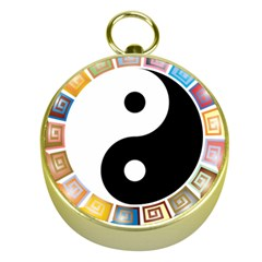 Yin Yang Eastern Asian Philosophy Gold Compasses