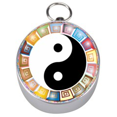 Yin Yang Eastern Asian Philosophy Silver Compasses