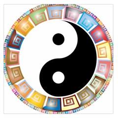 Yin Yang Eastern Asian Philosophy Large Satin Scarf (Square)