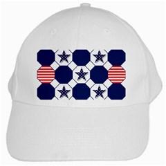 Patriotic Symbolic Red White Blue White Cap