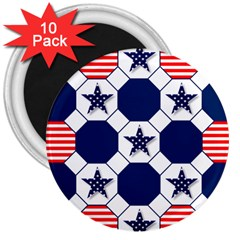 Patriotic Symbolic Red White Blue 3  Magnets (10 pack)