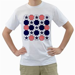 Patriotic Symbolic Red White Blue Men s T-Shirt (White) (Two Sided)