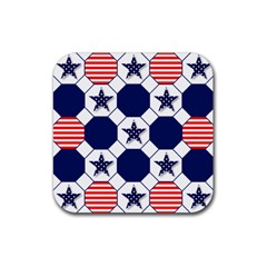Patriotic Symbolic Red White Blue Rubber Coaster (Square)
