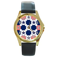 Patriotic Symbolic Red White Blue Round Gold Metal Watch