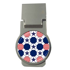 Patriotic Symbolic Red White Blue Money Clips (Round)
