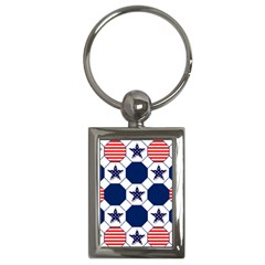 Patriotic Symbolic Red White Blue Key Chains (Rectangle)