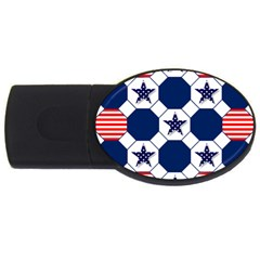 Patriotic Symbolic Red White Blue USB Flash Drive Oval (2 GB)