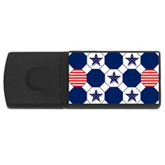 Patriotic Symbolic Red White Blue USB Flash Drive Rectangular (1 GB)
