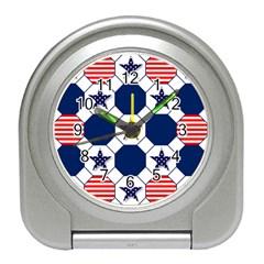 Patriotic Symbolic Red White Blue Travel Alarm Clocks