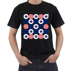 Patriotic Symbolic Red White Blue Men s T-Shirt (Black) (Two Sided)