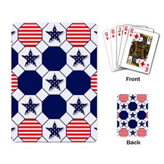 Patriotic Symbolic Red White Blue Playing Card