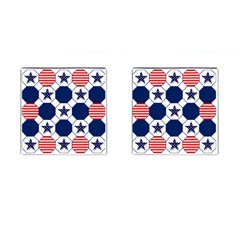 Patriotic Symbolic Red White Blue Cufflinks (square)