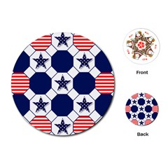 Patriotic Symbolic Red White Blue Playing Cards (Round)