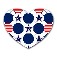 Patriotic Symbolic Red White Blue Heart Mousepads