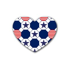 Patriotic Symbolic Red White Blue Rubber Coaster (Heart)