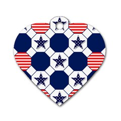 Patriotic Symbolic Red White Blue Dog Tag Heart (Two Sides)
