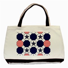 Patriotic Symbolic Red White Blue Basic Tote Bag (Two Sides)